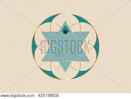 Sacred Geometry, Green Flower Of Life Logo Template. Colorful Symbol Of Harmony And Balance. Gold Si
