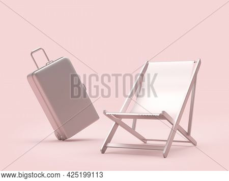 Silver Empty Chaise Lounge With Travel Suitcase On Pink. 3d Illustration