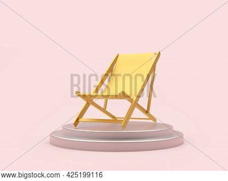 Golden Empty Chaise Lounge On A Stand. 3d Illustration