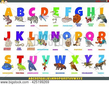 Educational Cartoon Illustration Of Colorful Alphabet Set With Comic Animal Characters And Captions