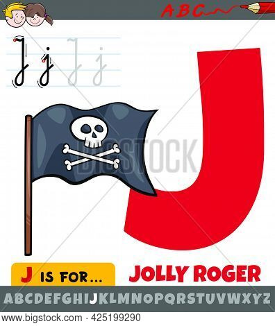 Educational Cartoon Illustration Of Letter J From Alphabet With Jolly Roger Flag