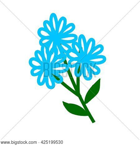 Blue Flowers Isolated On White Background. Vector Illustration