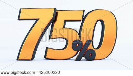 Seven Hundred Fifty 750% Off On Sale. Gold Percent Isolated On White Background. 3d Render Of A Gold