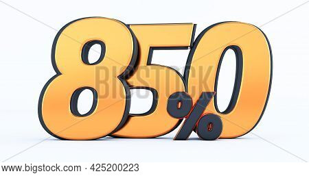 Eight Hundred Fifty 850% Off On Sale. Gold Percent Isolated On White Background. 3d Render Of A Gold