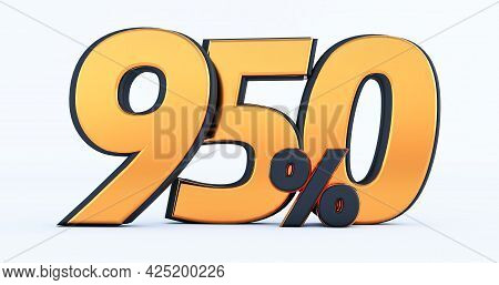 Nine Hundred Fifty 950% Off On Sale. Gold Percent Isolated On White Background. 3d Render Of A Gold