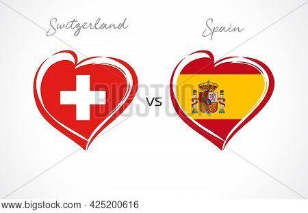 Switzerland Vs Spain, Flag Emblem. National Team Soccer Icon On White Background. Swiss And Spanish