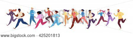 Jogging Athletes. Running Men And Women In Winter Tracksuits. Sports Competitions, Training, Athleti