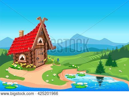 Fairy Tale House Made Of Logs With A Red Roof Against The Backdrop Of A Beautiful Landscape. Hut By