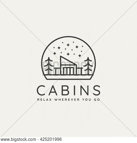 Winter Camp Cabin Minimalist Line Art Badge Logo Template Vector Illustration Design. Simple Minimal