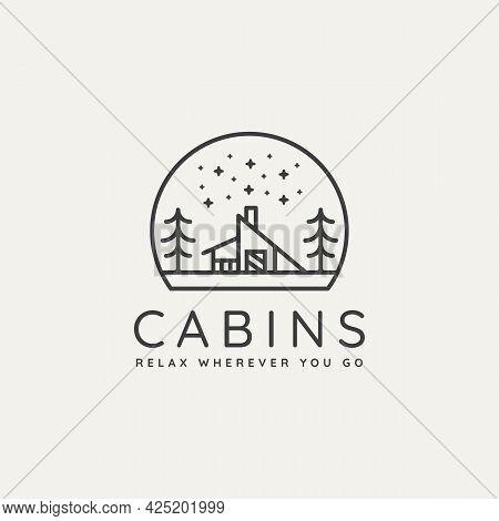 Winter Lodge Cabin Minimalist Line Art Badge Logo Template Vector Illustration Design. Simple Minima