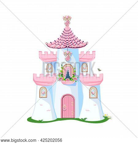 Beautiful Pink Castle Of A Lovely Princess With Heart Shaped Jewels, Towers, Windows And A Door. Vec