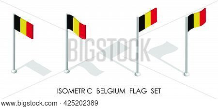 Isometric Flag Of Belgium In Static Position And In Motion On Flagpole. 3d Vector