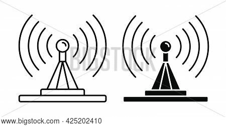 Linear Icon. Tv Antenna Transmits Signal. Radio And Television Day. Simple Black And White Vector