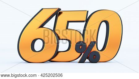 Six Hundred Fifty 650% Off On Sale. Gold Percent Isolated On White Background. 3d Render Of A Gold S