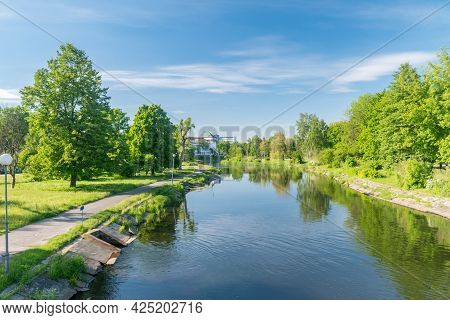 Summer View On Gwda River In City Center Of Pila, Poland.