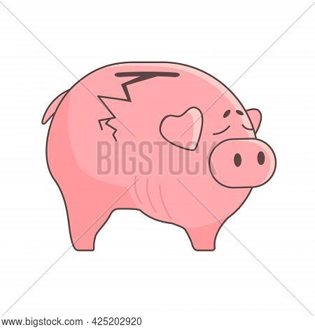 The Piggy Bank Is Empty And Cracked, Broken..vector Illustration In A Flat Style. The Concept Of Lac