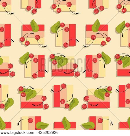 Cherry Berry. Geometric Figures With Ripe Berries On Light Background. Seamless Pattern. Ripe Berry