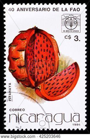 Nicaragua - Circa 1986: A Postage Stamp From Nicaragua Showing Fruit Pitahaya