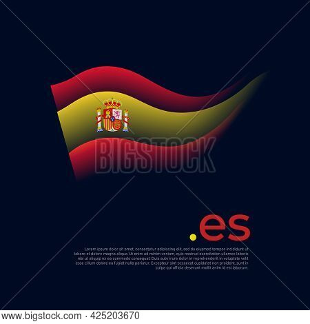 Spain Flag. Colored Stripes Of The Spanish Flag On A Dark Background. Vector Stylized Design Of Nati