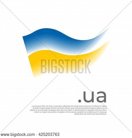 Ukraine Flag. Colored Stripes Of The Ukrainian Flag On A White Background. Vector Stylized Design Na