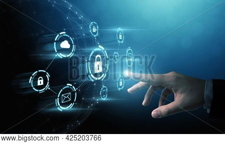 Cyber Security, Data Protection And Internet Technology Concept.