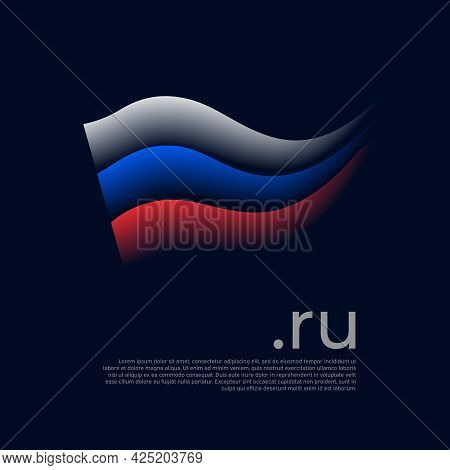 Flag Of Russia. Colored Stripes Of The Russian Flag On A Dark Background. Vector Stylized Design Nat