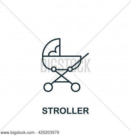 Stroller Icon From Baby Things Collection. Simple Line Element Stroller Symbol For Templates, Web De