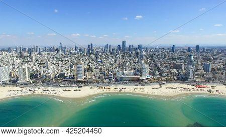 Israel Beach On Mediterranean Sea, Aerial View, Israel. Tel-aviv