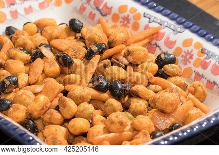 Nut Snack Selection In Pretty Generic Serving Bowl Close-up. Close Up Of Delicious Healthy Nuts With