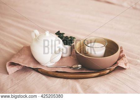 Nice Snack Breakfast Cuisine Coffee And Croissants Macaroon