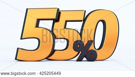 Five Hundred Fifty 550% Off On Sale. Gold Percent Isolated On White Background. 3d Render Of A Gold