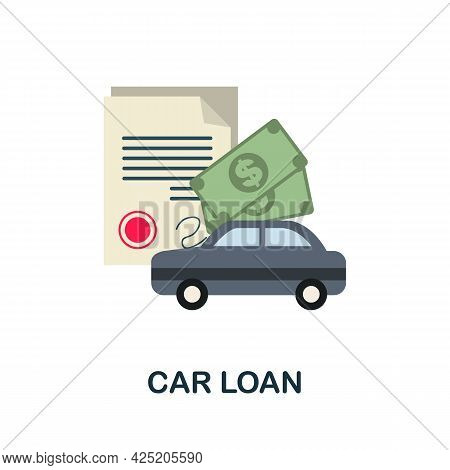 Car Loan Icon. Flat Sign Element From Credit Collection. Creative Car Loan Icon For Web Design, Temp