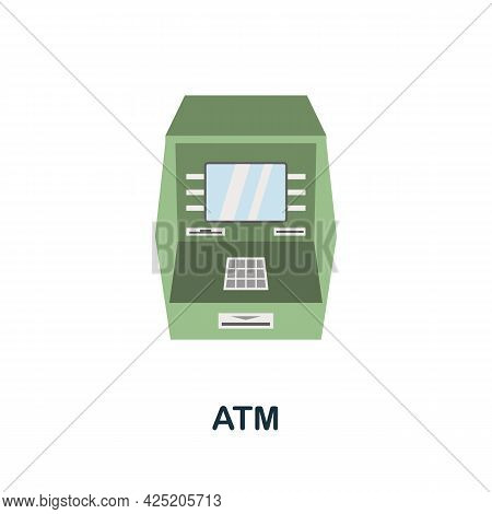 Atm Icon. Flat Sign Element From Credit Collection. Creative Atm Icon For Web Design, Templates, Inf