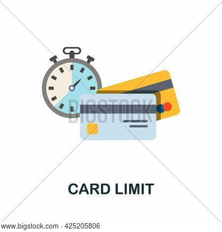 Card Limit Icon. Flat Sign Element From Credit Collection. Creative Card Limit Icon For Web Design,