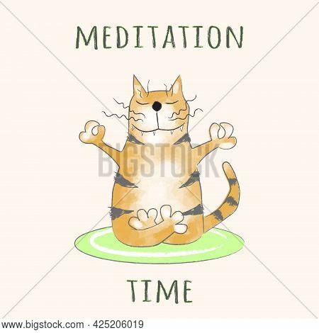 Funny Ginger Tabby Cat Sits In A Meditation Pose. Meditation Time. Cartoon Vector Illustration, Desi