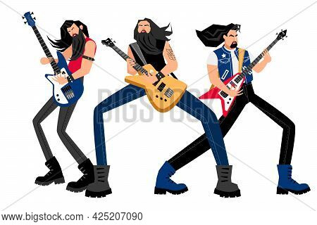 Creative Rock Band. Cartoon Men With Electric Guitars, Concept Of Logo With Adult Musicians, Vector