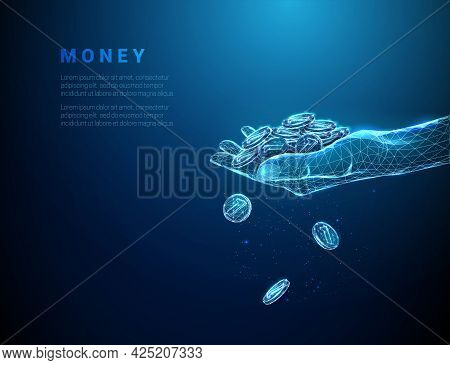 Abstract Blue Giving Hand With Pile Of Coins And Coins Falling Down
