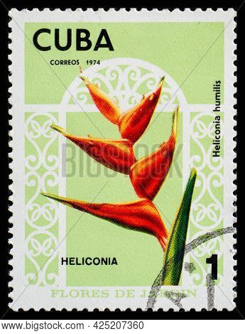 Cuba - Circa 1974: A Postage Stamp From Cuba Showing Garden Flowers Heliconia