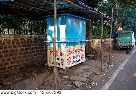 Kolhapur, Maharashtra, India- December 5th 2020;stock Photo Of Closed Street Food Stall During Lock