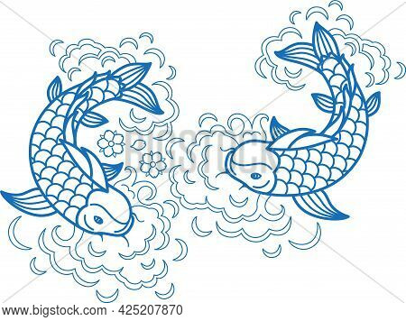 Fish Koi Art Carp Line Traditional Drawing Japan Goldfish Ink Element Isolated