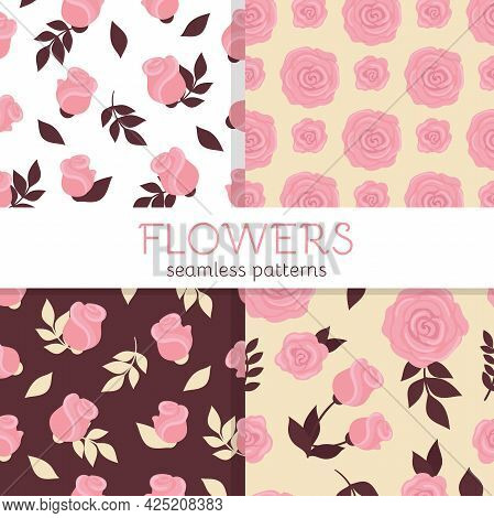 Set Of Seamless Patterns With Cute Roses. Vector Illustration With Pink Flowers For Wedding Decor, P