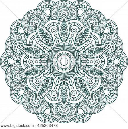 Hand Drawn Mandala. Arabic, Indian, Islam And Ottoman Culture Decoration Ethnic Geometric Round Orna
