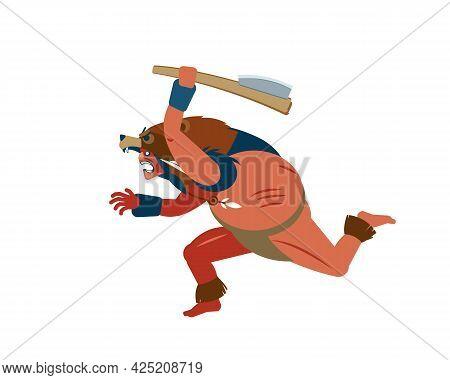 Mayan, Aztec Or Inca Warrior Character In Skin Of Bear, Wearing A Bear Helmet Brave Runs Toward And