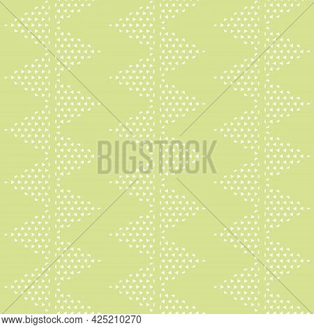 Vector Triangle Zigzag Stripes On Lime Green Seamless Pattern Background. Perfect For Fabric, Wallpa