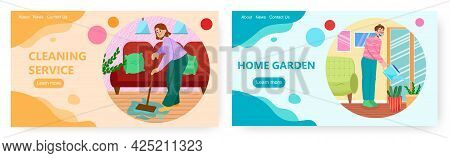 Home Care Services, Landing Page Design, Website Banner Vector Templates. Housekeeping. House Cleani