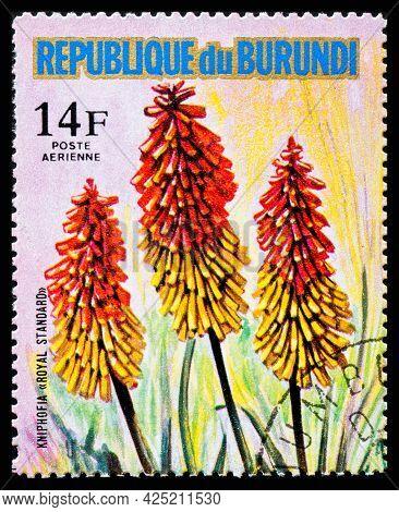 Burundi - Circa 1973: A Postage Stamp From Burundi Showing Garden Flowers Kniphofia Royal Standard