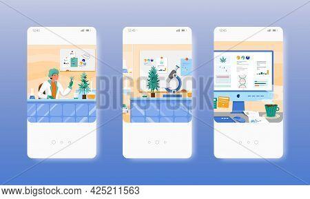 Hemp Lab. Marijuana Research. Cbd Oil Test. Mobile App Screens, Vector Website Banner Template. Ui,