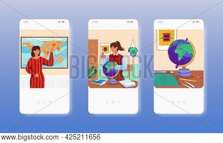 Geography Teacher, Map, Globe. School Education. Mobile App Screens, Vector Website Banner Template.