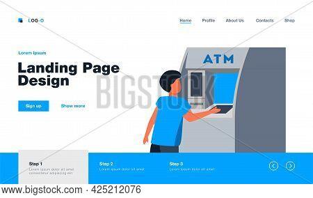 Little Boy Getting Money From Atm. Cash, Machine, Banking Flat Vector Illustration. Finance And Digi