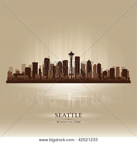 Seattle Washington Skyline City Silhouette